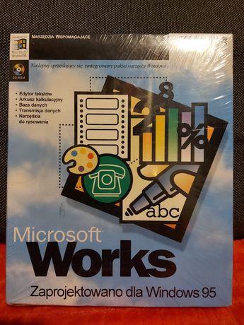 Microsoft Works 95, CD, nowy w folii, kod 77407 PL, dla kolekcjonera