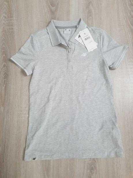 Nowa szara koszulka polo 4F S