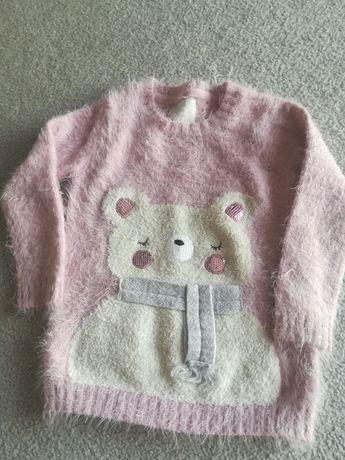 Sweterek moher różowy 98