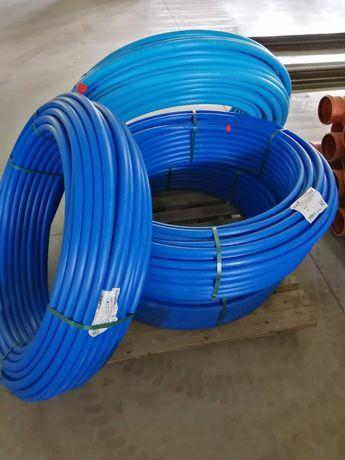 Rura wodociąg niebieska do wody PE 32,40 złączka PE kolano PE PipeLife