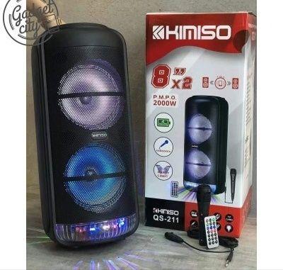 Акустическая аккумуляторная колонка 2x8 дюймов (USB/FM/BT/LED) KIMISO
