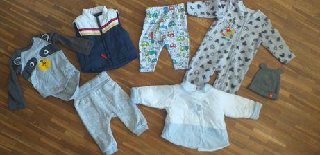 Ubranka paka 56 62 chłopiec noworodek wyprawka niemowlę zestaw