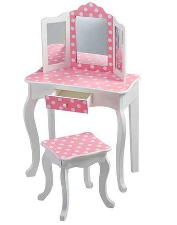 DREWNIANA toaletka z krzesłem i potrójnym lustrem dla dziecka OPIS