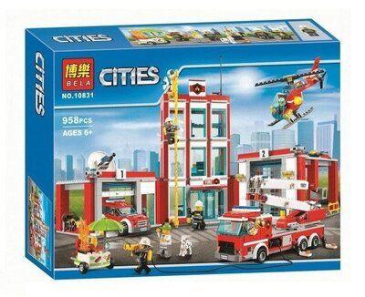 Конструктор Bela 10831 Пожарная часть. Сити аналог Lego City 60110