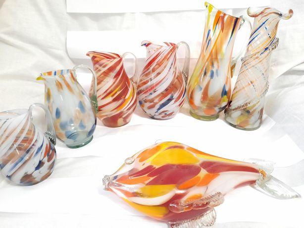 Цветное стекло кувшин конфетница, бережанское ваза графин корзина