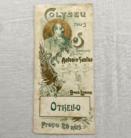 Programa ópera Coliseu dos Recreios com a peça Otelo de Verdi antigo