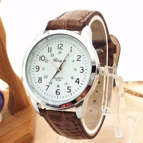 Relógio Unisexo Gerryda c/ bracelete em couro Castanho (NOVO)