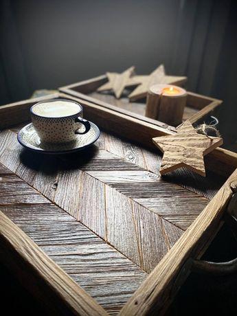 Taca ze starego drewna Drewniana taca Dekoracje z drewna 2 szt.