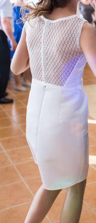 Krótka suknia ślubna z gipiurą Margarett Eva