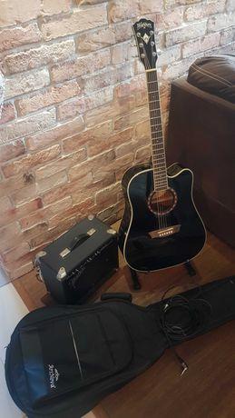 Gitara elekktroakustyczna   WASHBURN, + wzmacniacz FENDER, + Dodatki