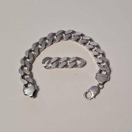 Bransoleta srebrna gruba 925