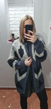 Vintage sweter kardigan wełniany w odcieniach szarości Unikat