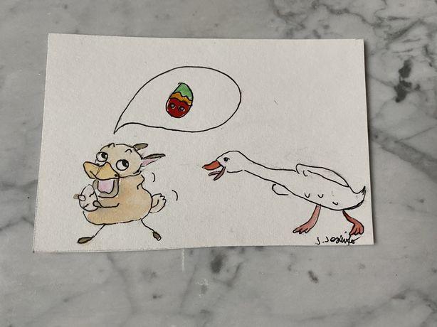 Kartka okolicznościowa wielkanoc mops pug gęś jajko pisanka hakwarele