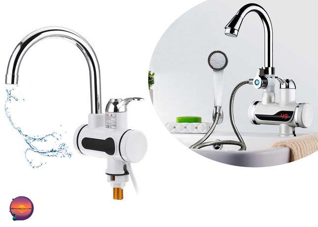 Проточный кран водонагреватель Делимано с экраном и душем Delimano