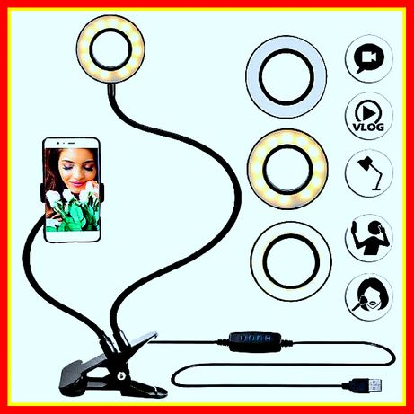 Держатель гибкий для телефона с LED подсветкой кольцо на прищепке Live