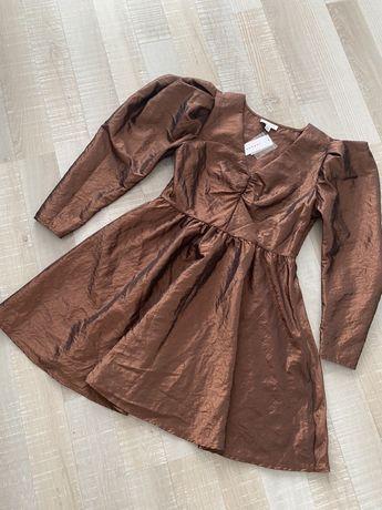 TOPSHOP złota kloszowana sukienka