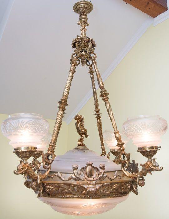 люстра бронзовая с фигурками и плафонами Испания Тернополь - изображение 1