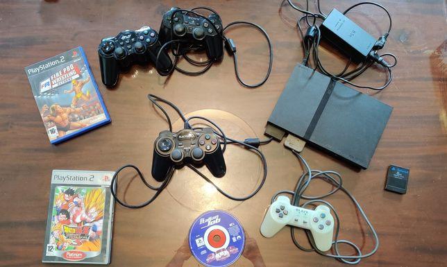PlayStation 2 - PS2 Consola + Cartão de Memória + 5 jogos