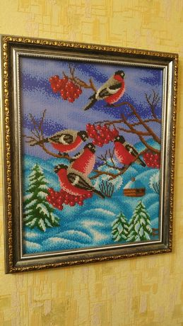 "Картина бисером ""Снегири"""