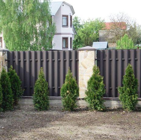 Забор, еврозабор, штакетник металлический