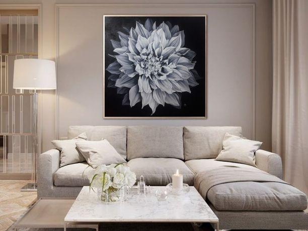 большая картина маслом,  80×80 см, черно белая