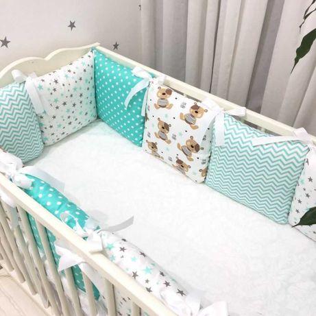 Бортики в кроватку (без предоплаты), коса, кокон, плед, постельное