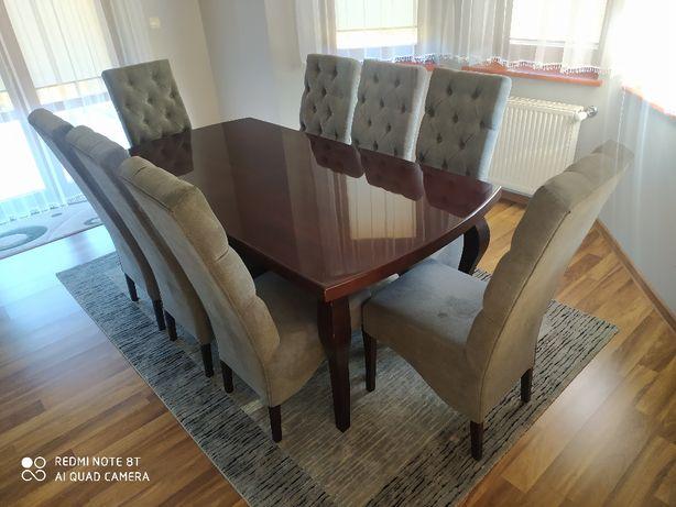 duży stół 200x100cm +8szt krzeseł pikowanych stan idealny