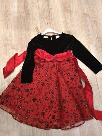 Sukienka z długim rękawem czerwono-czarna 6 lat (116)