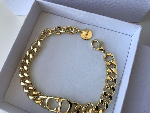 Christian Dior zloty łancuch bransoletka logo pudełko prezent