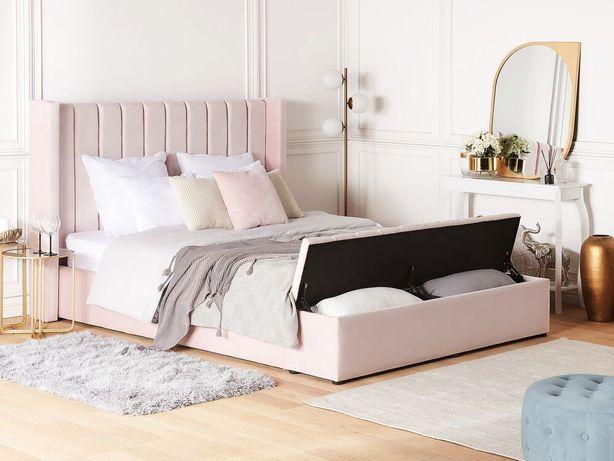 Cama de casal em veludo rosa pastel com espaço de arrumação 160 x 200 cm NOYERS - Beliani
