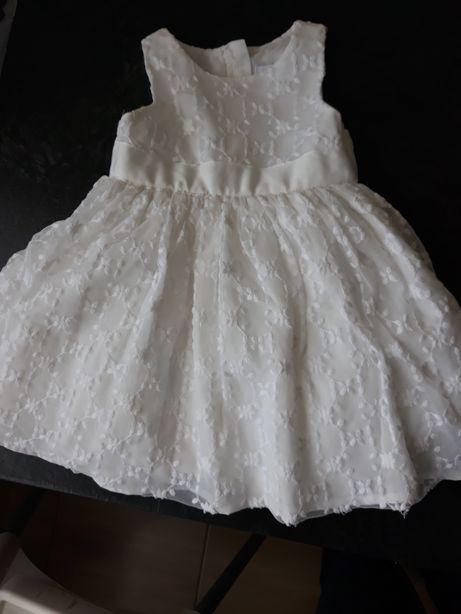 Śliczna biała sukienka COOL CLUB SMYK roczek rozm. 80