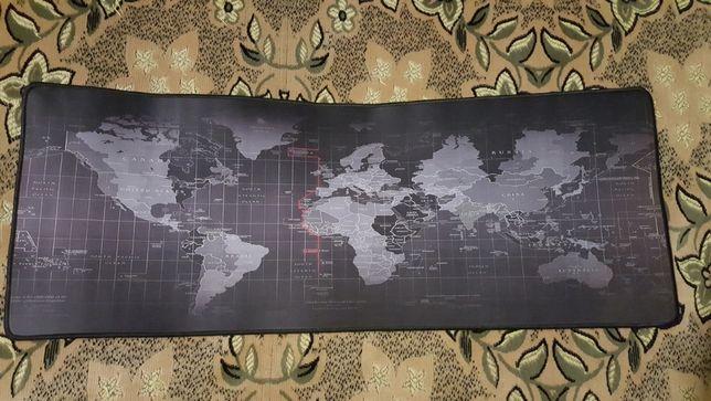 Продам коврик для клавиатуры и мыши с изображением карты мира 80х30см