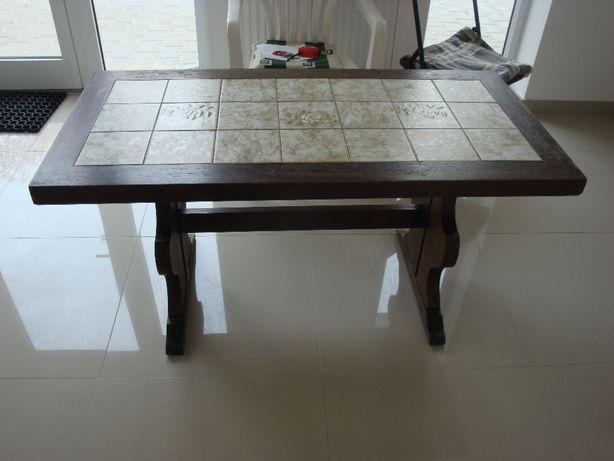 Drewniana ława/stolik z płytkami-NIEUZYWANA