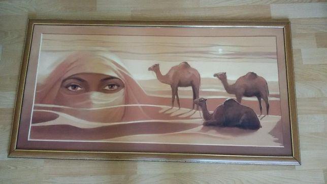 Картина пустыня глаза. 105* 55 cм. Масло