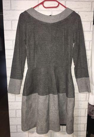 Szara sukienka midi na długi rękaw NORBI streetwear vintage