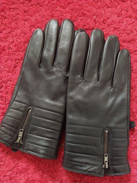 Перчатки мужские кожаные мягкие теплые воришки крутые модные стильные