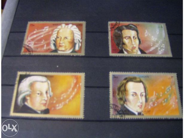 Selos de 4 compositores Mozart Bach Chopin e Liszt