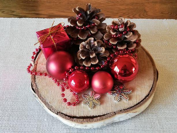 RĘKODZIEŁO ozdoba świąteczna stroik na podstawie z drzewa