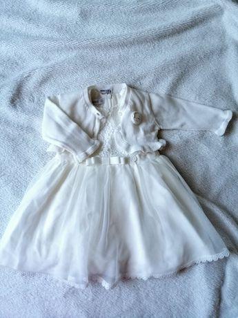 Sukienka i sweterek śmietankowe na chrzest rozmiar 74