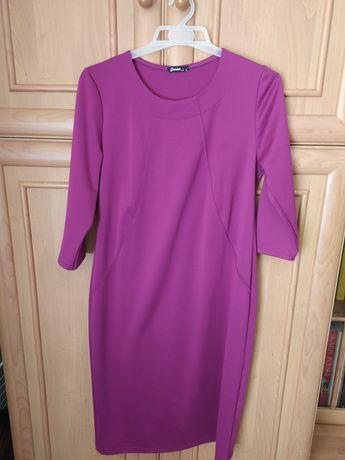 Sukienka długi rękaw kolor fuksja