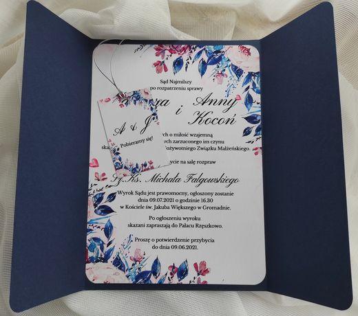 Zaproszenie na ślub granatowe różowe eleganckie