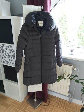 Płaszcz kurtka zimowa pikowana ciepła zima szara pasek długa S 36