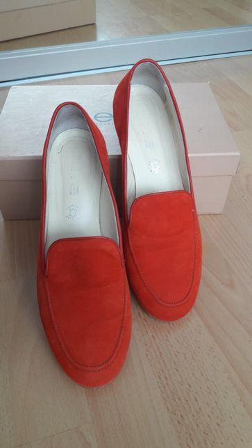 Туфли кожаные замш красные на низком ходу