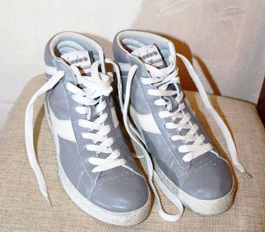 Высокие кроссовки кеды натуральная кожа Diadora оригинал