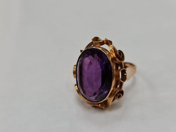 Aleksandryt!Przepiękny! Retro! Duży pierścionek damski/ 585/ 9.44g R17