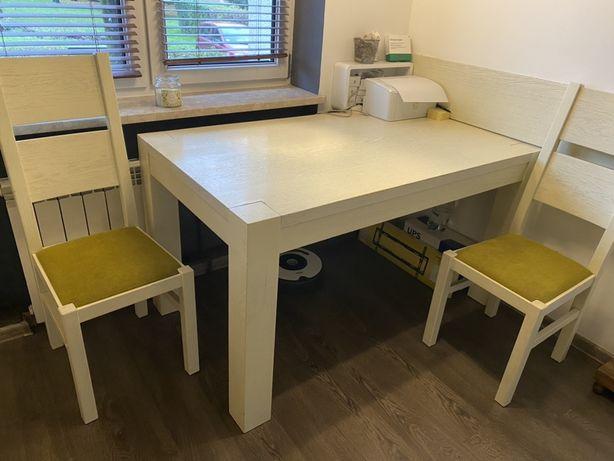 Stol plus lawa plus 2 krzesla drewniany  soldny rozkladany