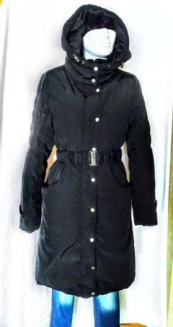 Брендовое черное пальто стеганное демисезон Object Дания 46-48 М