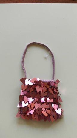 Сумка Next детская нарядная пайетки розовая новая 10х12 см