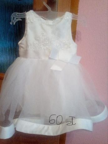 sukieneczka biała idealna na chrzest , roz. 62/68