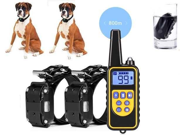 Coleiras Treino Anti-Latido Ladrar Cães Dupla Baterias Prova Água 800M